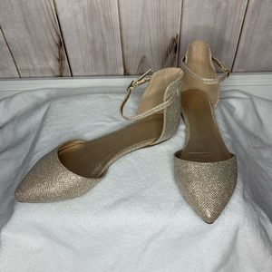 Sparkly gold flats